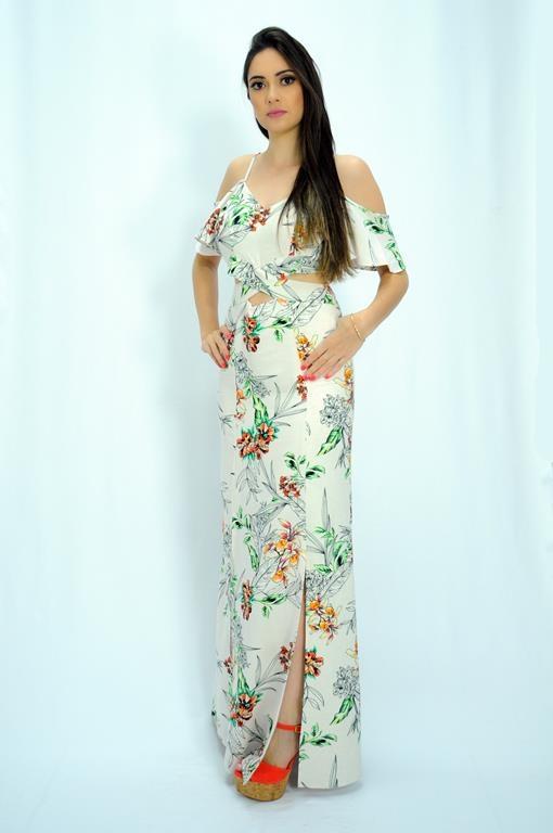 Vestido longo com fenda viscose