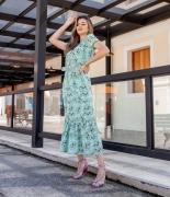 Vestido Midi Floral com Babado na Barra